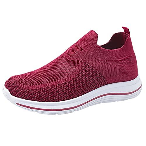 URIBAKY Chaussures de Course légères Confortables de Baskets Plates de Couleur Unie de Mode de Dames, Baskets Coussin d