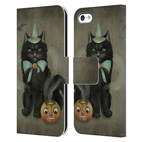 Head Case Designs Ufficiale Ash Evans Birra Affascinante Gatti Neri 2 Cover in Pelle a Portafoglio Compatibile con Apple iPhone 5c