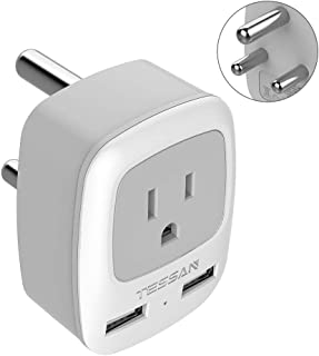 South Africa Power Adapter, TESSAN International Grounded Travel Plug Adapter with Dual USB &1 American Sockets Power outlet adapter for Type M Country Such as Bhutan, Botswana, India, Israel