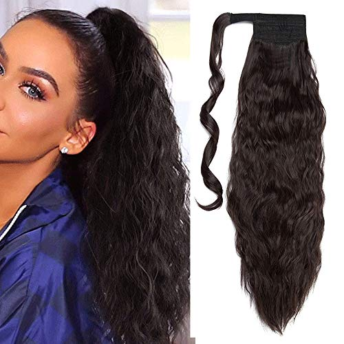 Ponytail Extensions Haarteile Zopf Haarverlängerung Günstig Corn Wave Pferdeschwanz Extensions Clip in Extensions wie Echthaar Hair 50cm-90g # Dunkelbraun