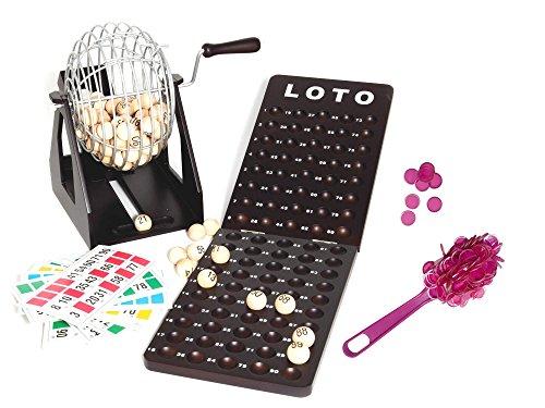 Outletdelocio Loteria-Bingo de Gran robustez, Hecho en Madera y Metal. 90 Bolas de Madera Maciza. Acabado Incluye fichas Especiales magneticas de Recogida rápida.