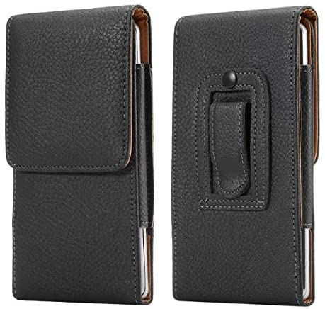 Faux Leather Belt Clip Cell Phone Holster Case Pouch Cover Holder for iPhone 11 Pro Max/ Galaxy S10 Plus A10s/ Motorola Moto G7 G6 E5 Z4 Z3 Play/ Google Pixel 3a XL/ BLU G9/Vivo XL4 /UMIDIGI A5 Pro