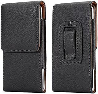 Cell Phone Belt Loop Holster Faux Leather Vertical Case Pouch for iPhone 12 Pro Max / Samsung Galaxy Note 20 / A51 / A71 /...