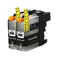 brother LC213(BK×2) 【ブラック/2本セット】 Hyper互換インクカートリッジ 【nasia+製】 (最新型ICチップ/残量検知/製品1年保証付き) BK213-2