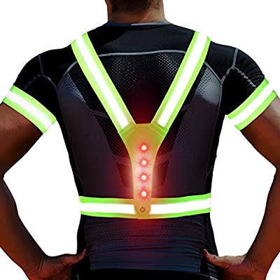 LED Reflective Running Vest, with 2 Reflective Armbands, 3 Lighting Modes, Adjustable Elastic Safety Gear for Men/Women/Kids, Reflective Vest for Night Running,Walking,Cycling/Biking, Waterproof/Green