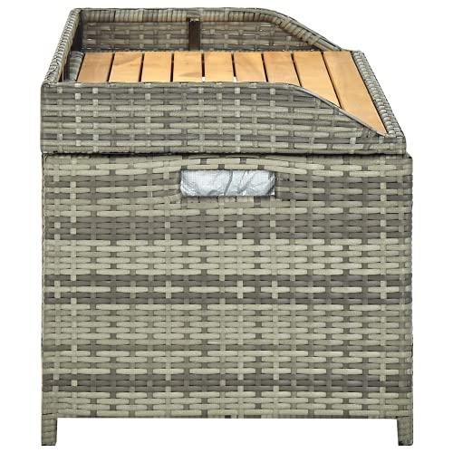 vidaXL Gartenbank mit Stauraum Gartentruhe Sitzbank Kissentruhe Kissenbox Truhenbank Auflagenbox Gartenmöbel Bank 120cm Poly Rattan Grau - 4