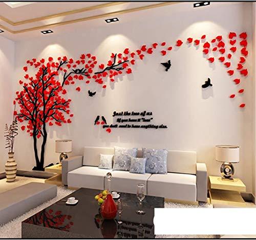 Albero Adesivo da Parete, Alberi e Uccelli 3D Adesivi Murali Arts Wall Sticker Decorativi per Soggiorno, Camera da Letto, Asili Nido, Ufficio, Bambini Stanze (XL, Sinistra Rosso)