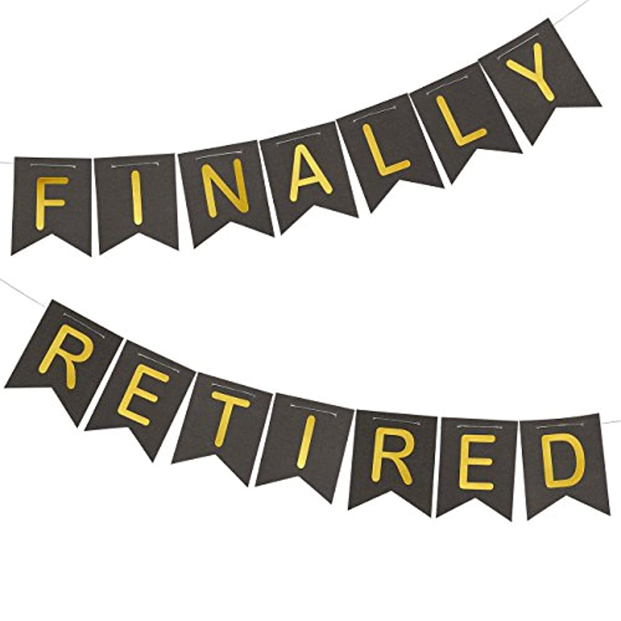 "Retirement Banner - ""Finally Retired"" Happy Retirement Party Supplies, Funny Retirement Decorations, Black and Gold, 11 Feet in Length pve28585627"