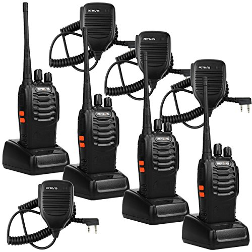 Retevis H-777 2 Way Radio Flashlight Rechargeable Handheld Radio 16CH Walkie Talkies with Speaker Mic (4 Pack)