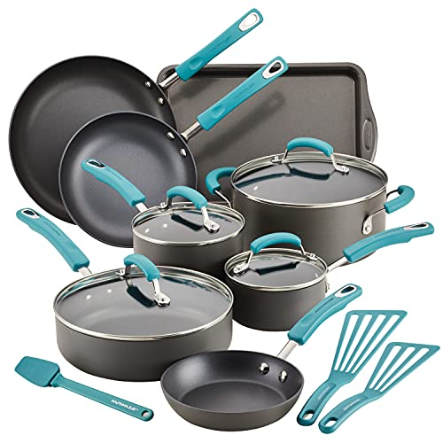 Rachael Ray Classic Brights Hard Anodized Nonstick Cookware Pots and Pans Set, 15 Piece - Agave Blue