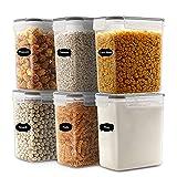 JUCJET 1.6L Contenitori Alimentari per Cereali, Senza BPA Contenitori Plastica con Coperchio, Set 6...