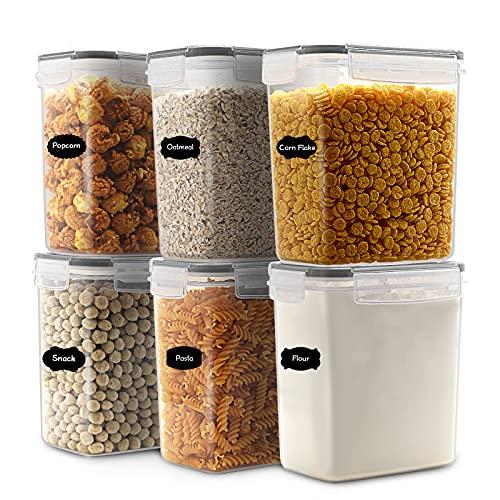 JUCJET 1.6L boîtes de Conservation Alimentaire sans BPA de Nourriture en Plastique avec Couvercle, Boîtes à céréales Ensemble De 6 +12 Étiquettes,pour Céréales,Farine (noir)