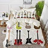 Juego de cama, microfibra,Guitarra, Colección gráfica de guitarras Instrumentos de cuerda coloridos Diapasón Rock Blues Decorativo, M,1 juego de funda nórdica 135 x 2002 fundas de almohada 50x80cm