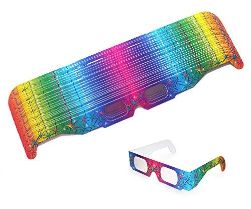 25 Stück Multispektral Brille - Regenbogen, Spektralbrille, Partybrille, Silvesterbrille, Feuerwerksbrille