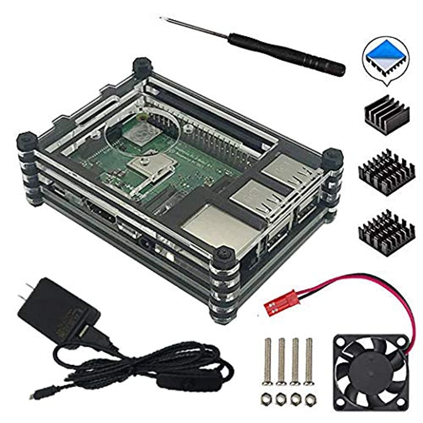 9 layers Acrylic Case for Raspberry Pi 3 Model B+ 3B Universal version with Fan Cooling and Heatsinks, 5V/2.5A Power Supply, Micro USB Cable with On/Off Switch
