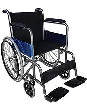 Mobiclinic, Alcázar, Silla de ruedas plegable, ortopédica, para minusválidos, freno manual, reposabrazos fijos y reposapiés abatibles, asiento, ultraligera, color negro