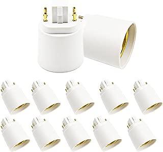 Luxvista Gx24q to E26/E27 LED Light Sockets Adapter, Gx24 to Medium Edison Bulb Base Adapter, 4 Pin CFL Lamp Base Converter, Remove Bypass the Ballast, 10-Pack