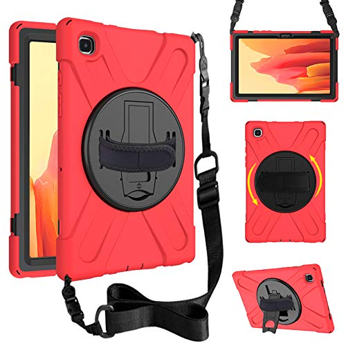 Junfire Funda para Samsung Galaxy Tab A7 2020.10.4 pulgadas (SM-T500/T505/T507), resistente, antigolpes, con correa para el hombro y correa de mano, soporte giratorio 360°, color rojo