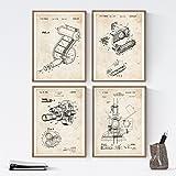 Nacnic Vintage - Pack de 4 Láminas con Patentes de Fotografía. Set de Posters con inventos y Patentes Antiguas. Elije el Color Que Más te guste. Impreso en Papel de 250 Gramos de Alta Calidad