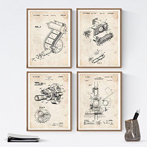 Nacnic Fotografie Patent Poster 4er-Set. Vintage Stil Wanddekoration Abbildung von Kamera und Alte Erfindungen. Verschiedene geometrische Fischen Bilder ohne Rahmen. Größe A4.