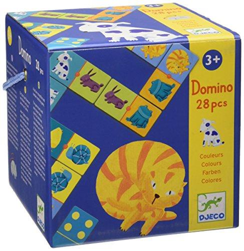 Djeco- Juegos familiaresDominóDJECOEducativos Domino Animales Colores, Multicolor (15)