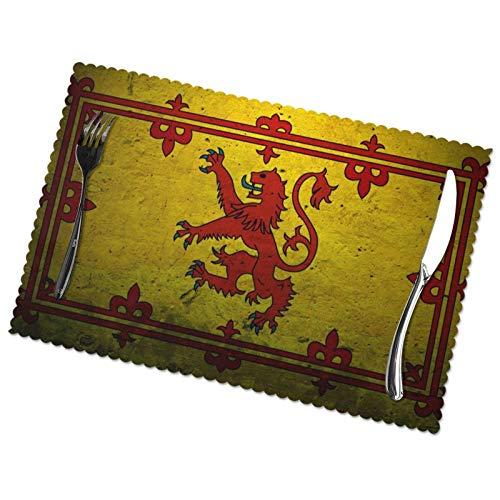 jhgfd7523 Juego de 6 manteles individuales con diseño de león vintage y rampante escocesa, antideslizantes, resistentes al calor, lavables, para cocina, comedor, decoración del hogar, 30,5 x 45,7 cm