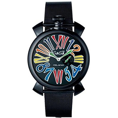 GAGA MILANO MEN'S SLIM 46MM BLACK IP STEEL BRACELET & CASE QUARTZ WATCH...