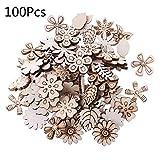 PYDD 100本カット木材花と葉の装飾木製の形状クラフト結婚式の装飾