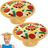 2 Pieces Funny Pizza Hat Halloween crazy Silly Hat Fun Toy Play Hat with Felt Toppings and Plush Fabric Novelty Halloween Costume Accessories Pizza Party Supplies Decoration for Carnival, Dramas