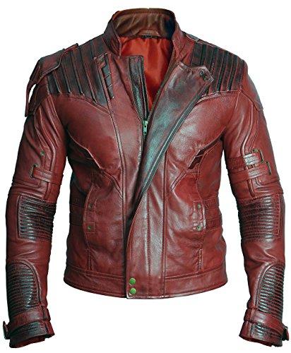 Chaqueta de piel auténtica de Peter Jason Quill Star Lord de los Guardianes de la Galaxia