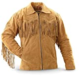 COCOBEE Men's Fringes Western Suede Leather Jacket Fashion Leather Jacket Slimfit Biker Jacket Black