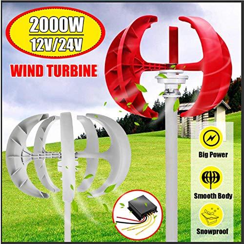 SISHUINIANHUA 2000W Wind Turbines Generator + Steuerung 12V24V 5 Blades Laterne Vertikale Die Achsen für Wohn Haushalt Straßenbeleuchtung,Rot,24v