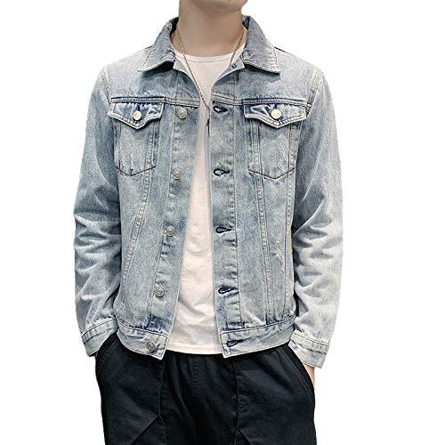 Zestion Camisas de Mezclilla Informales para Hombre, Chaqueta con Costura, Estilo Vintage, Lavado Desgastado, Tendencia de Moda, Abrigo de Cambray de Todo fósforo 4X-Large