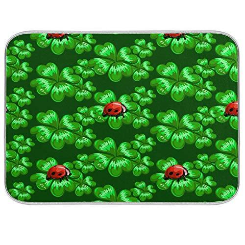 Clover Ladybug - Alfombrilla de secado para cocina (poliéster, absorbente, lavable a máquina, secado rápido, 45,7 x 60,9 cm), color verde