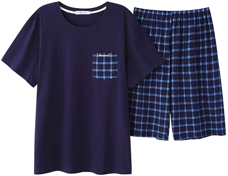 OMYbaby Big Boys Pajamas Set Loose Summer Short Cotton Sleepwear Teens PJS 13-18Years