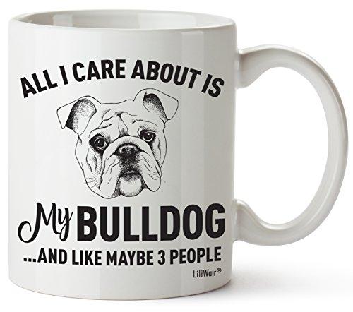 Bulldog Mom Gifts - Taza para mujer y hombre, decoración para el amante de los amantes de los bulldogs con texto en inglés'I Love Bulldogs'