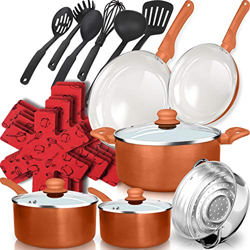 dealz frenzy 21-Piece Soft Grip Absolutely Healthy Ceramic Non-Stick Cookware Set with Stay Cool Silicone Handles, Dishwasher Safe,Oven Safe, Pots and Pans Set, Scratch Resistance, Copper