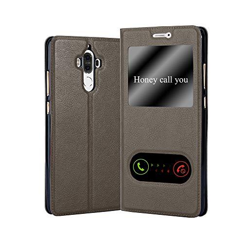 Cadorabo Hülle für Huawei Mate 9 - Hülle in Stein BRAUN – Handyhülle im Standfunktion & 2 Fenstern (View Design) - Hülle Cover Schutzhülle Etui Tasche Book Klapp Style
