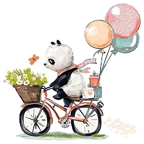 dekodino Adesivo murale acquerello animali baby panda con bicicletta vivaismo