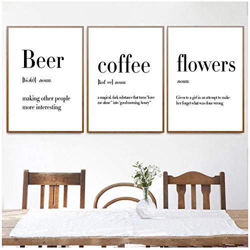 AdoDecor Minimalistischische Kunst Leinwand Malerei Definition Bier Kaffee Blume Poster und Druck Nordisch Kitchen Room Wandkunst Bild Wohnkultur 40x60cmx3 Kein Rahmen