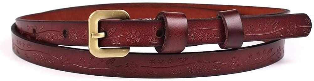 Leono Women's PU Leather with Alloy Belt Skinny Ladies Belt Adjustable Waist Thin Belt for Dress Jean Pant