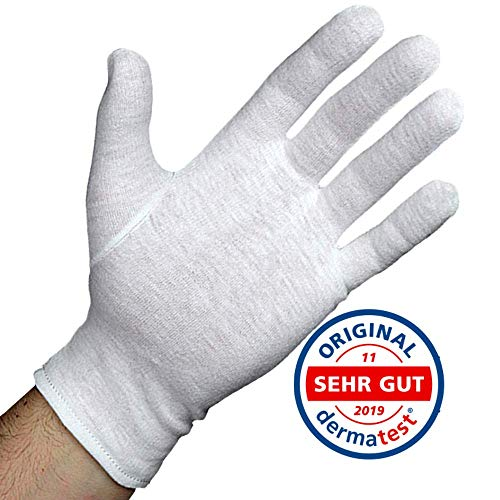 Dermatest: Sehr Gut - Lavamed® Baumwollhandschuhe - extra weiche Baumwoll-Handschuhe aus 100% Baumwolle - Trikothandschuhe - weiße Zwirnhandschuhe - Premium Kosmetikhandschuhe (3 Paar, S)