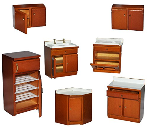 alles-meine.de GmbH 7 TLG. Set: Küche / Küchenmöbel aus dunklem Holz - Miniatur - Schrank + Spühle + Hängeschränke + Herd + Eckschrank + Kühlschrank mit Gefrierfach - Puppenstube..