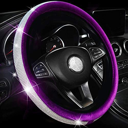 Valleycomfy Crystal Diamond Steering Wheel Cover Soft Velvet Feel Bling Steering Wheel Cover for Women Universal 15 inch Plush Wheel Cover (Purple)