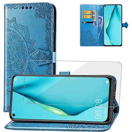 Yohii Funda Huawei P40 Lite + Cristal Templado, Piel PU Soporte Plegable Ranuras Cartera con Tapa Tarjetas Magnético Cuero Flip Carcasas, Case para Huawei P40 Lite - Azul
