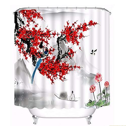 hysxm 3D Tranquille Paysage Prune Fleur Motif Rideaux De Douche Salle De Bains Rideau Étanche Épaissie Rideau De Bain Personnalisable-180(H)*200(W) Cm