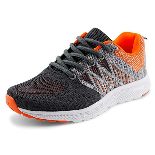 JABASIC Women Casual Breathable Running Sneakers Lightweight Tennis Shoes (9.5,Grey/Orange)