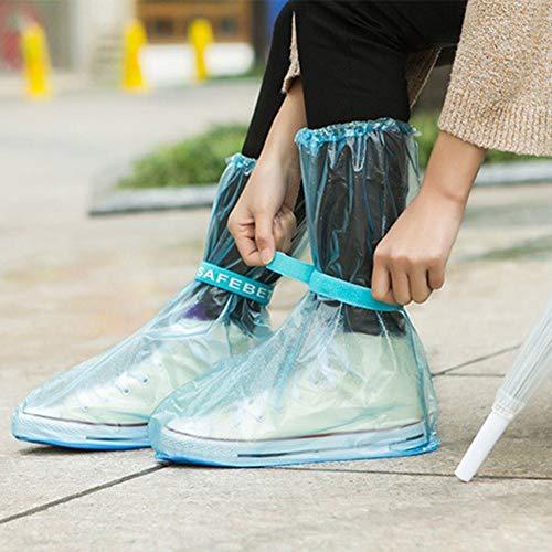 mothcattl - 1 par de Zapatos Unisex Impermeables Antideslizantes Reutilizables para el día de Lluvia, Azul, XX-Large
