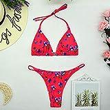 Eantpure Bikinis Mujer 2056 Push up Bikini,Moda cómoda, Sexy, Ajustada, Cintura Baja con Tiras, Traje de baño Dividido-cártamo_Medium,Tangas Swimsuit