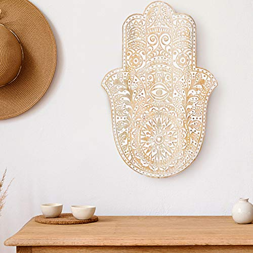 Orientalische Holz Ornament Wanddeko Hand der Fatma 54cm gross XL   Orientalisches Wandbild Wanpannel in Weiß als Wanddekoration   Vintage Triptychon als Dekoration im Schlafzimmer oder Wohnzimmer